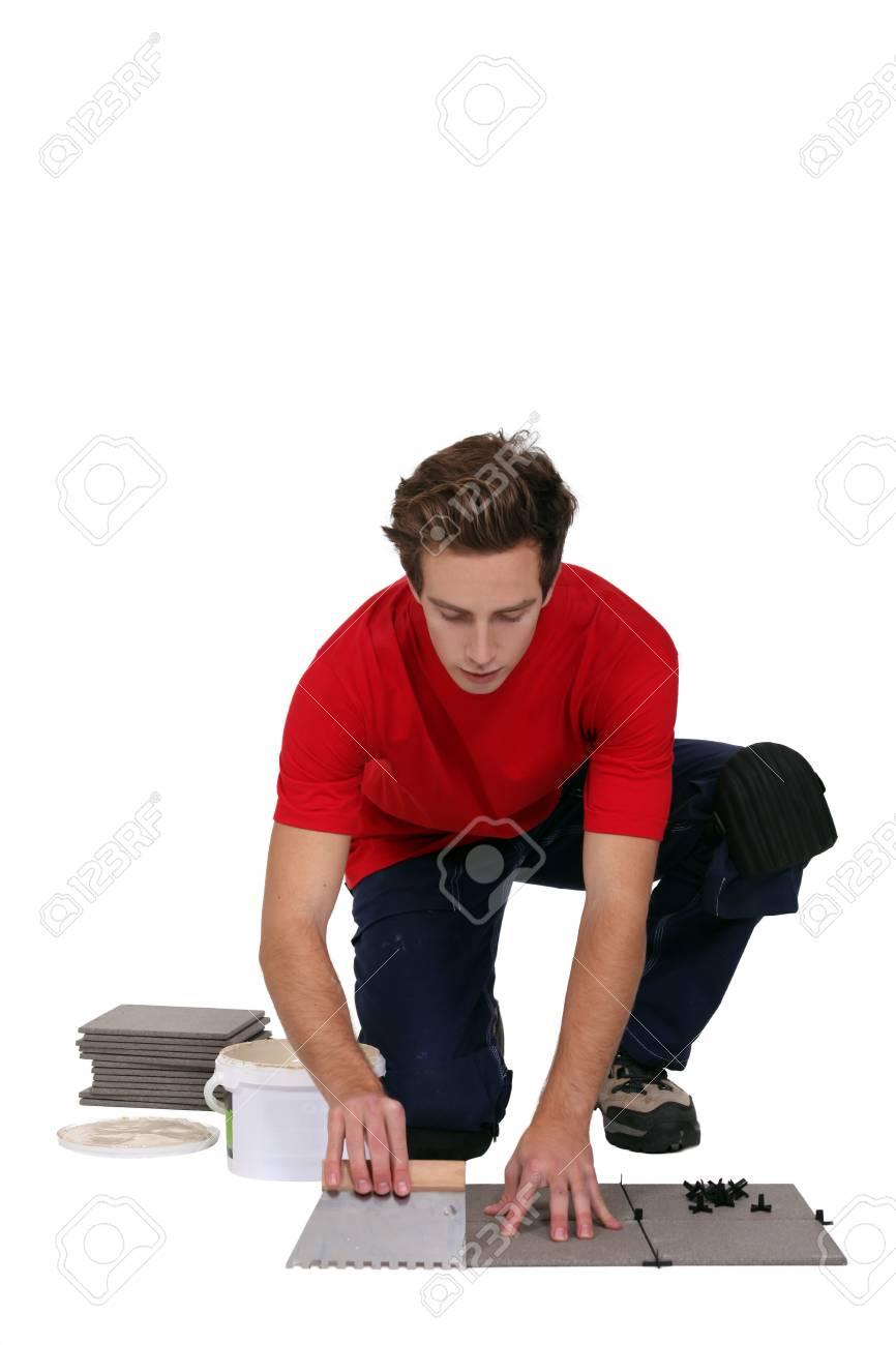 Man posing tiles Stock Photo - 13541177