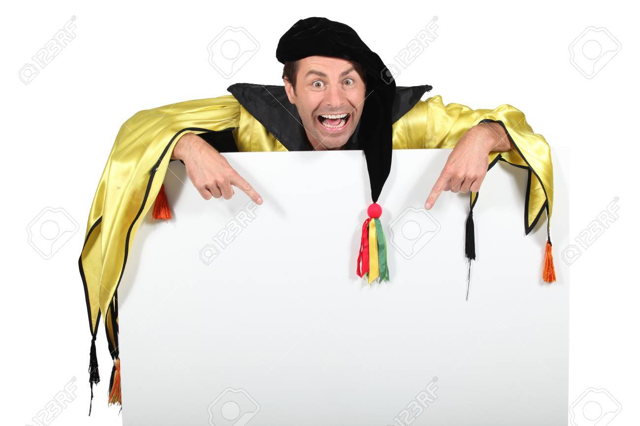 Magician pointing blank panel Stock Photo - 13561049