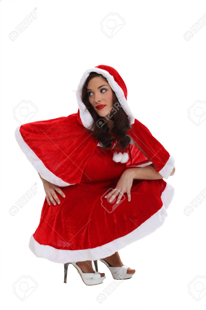 woman in a Santa Claus suit Stock Photo - 13621733