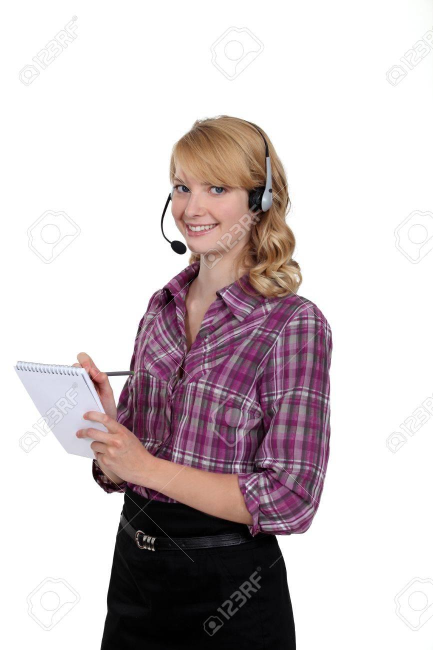 Blond call-center worker Stock Photo - 13621880