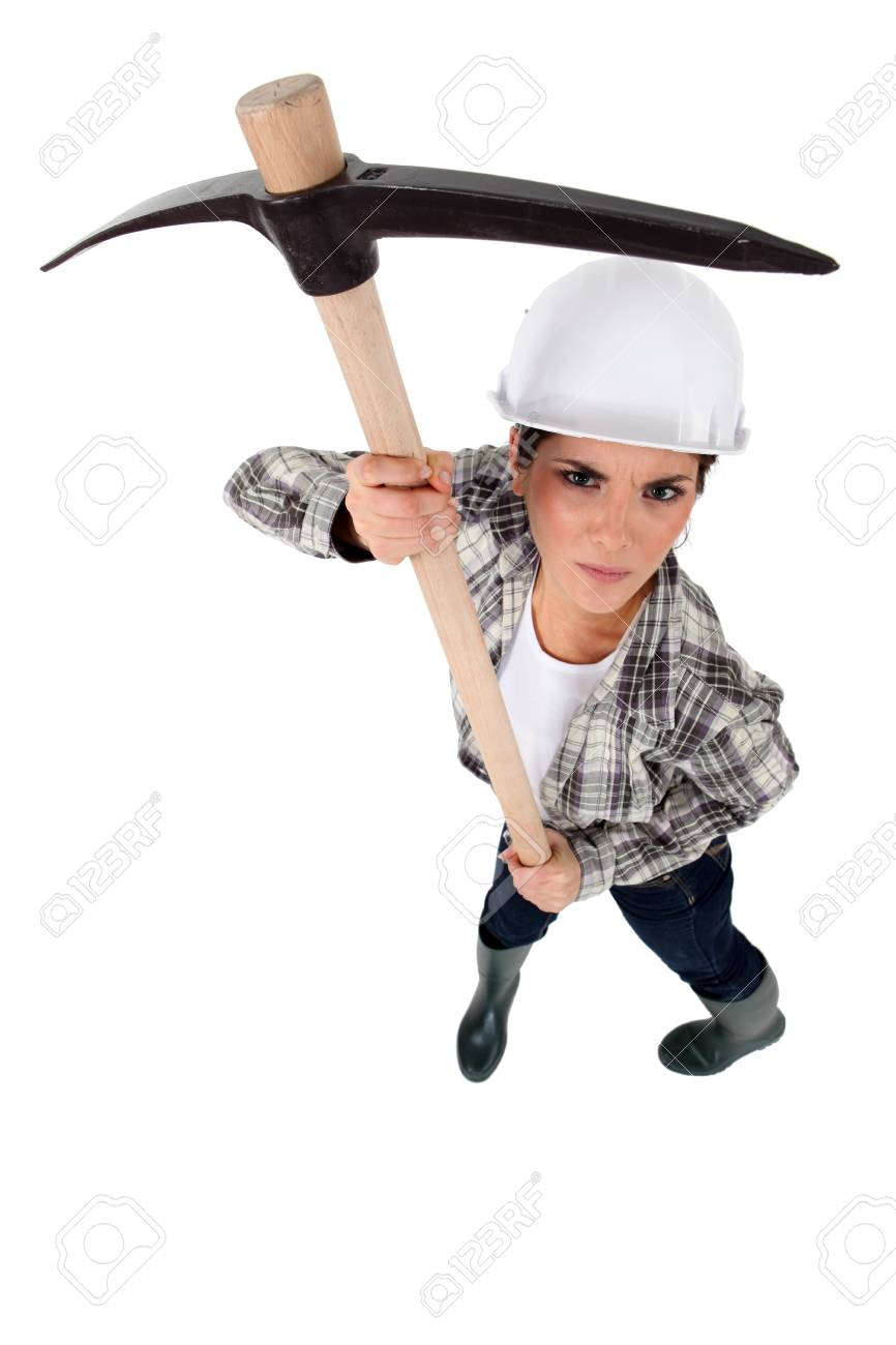 Angry woman holding a pick ax Stock Photo - 13645416