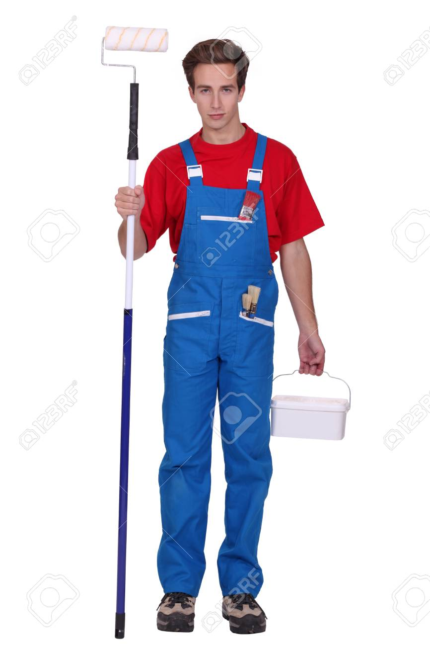 Man holding paint roller Stock Photo - 13802036