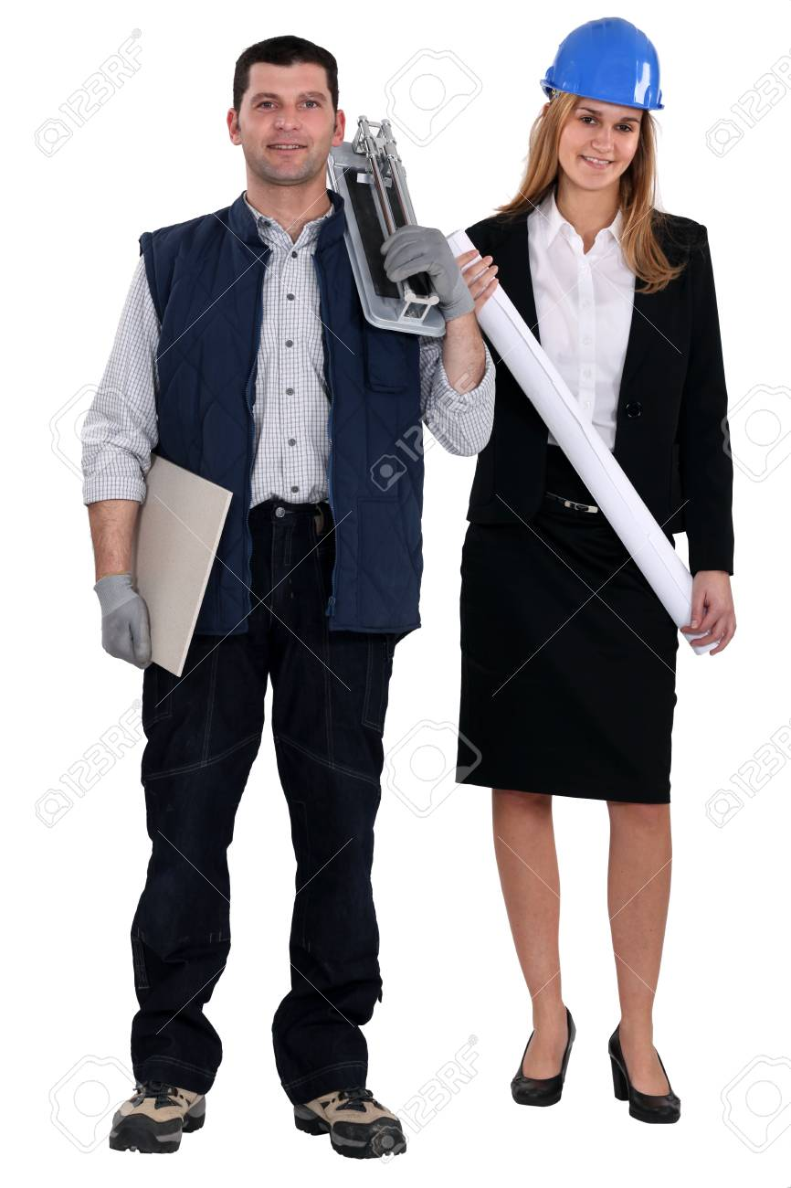 Female architect stood with tile cutter Stock Photo - 13807888
