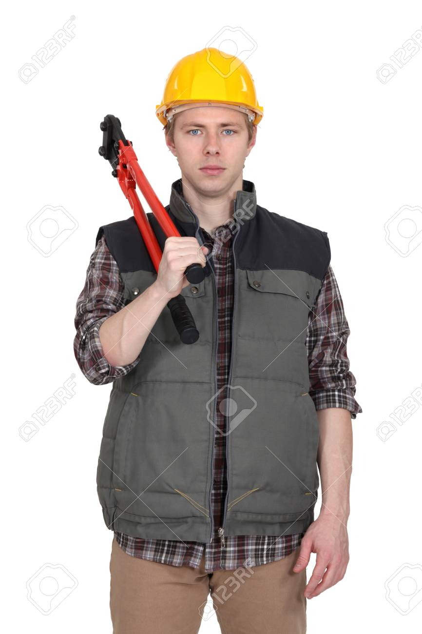 Tradesman holding large clippers Stock Photo - 13810187