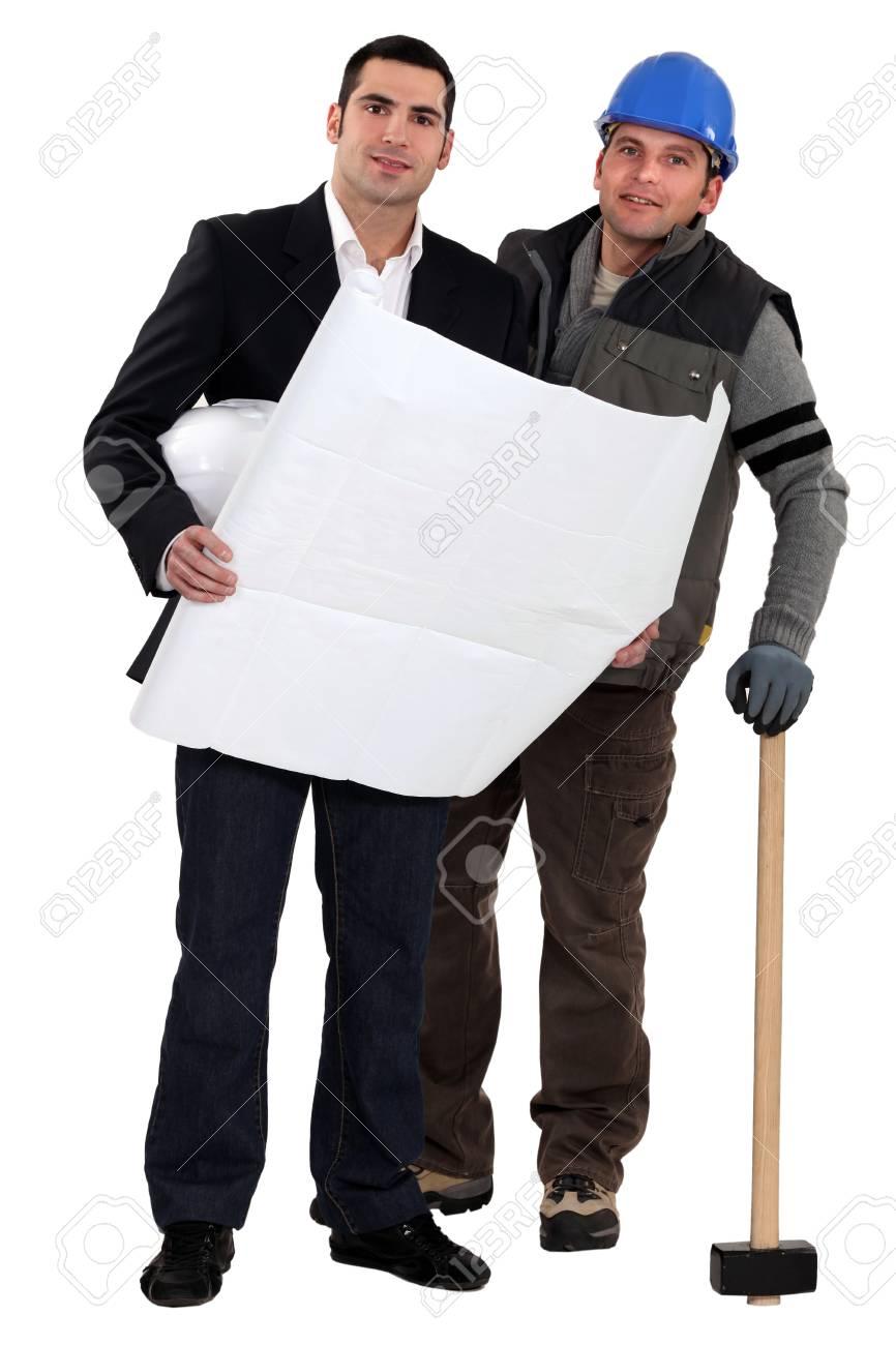 Tradesman and engineer working together Stock Photo - 13852181