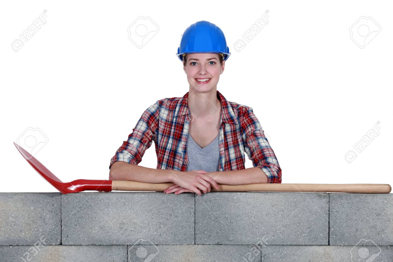 Woman stood with shovel Stock Photo - 13884573