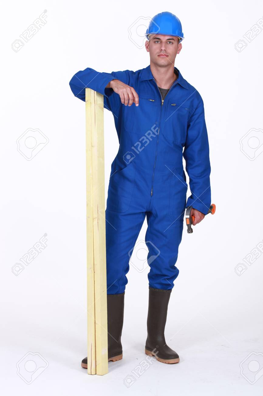 Carpenter wood with hammer and plank of wood Stock Photo - 13852720