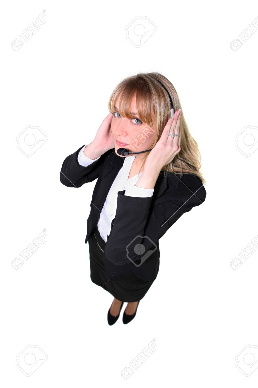 Woman wearing a telephone headset Stock Photo - 13826906