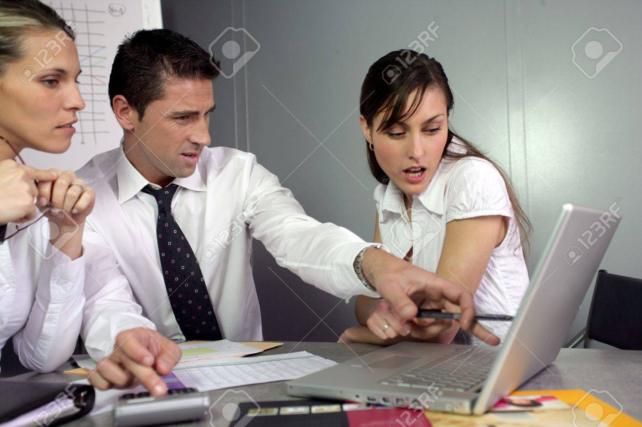Disgusted businesspeople looking at marketing results Stock Photo - 13841683