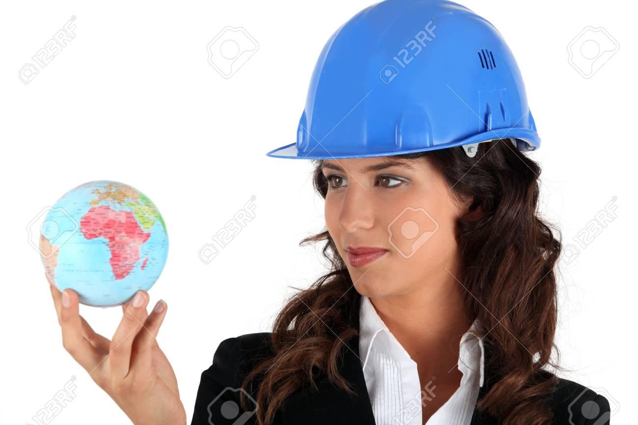 businesswoman holding a globe Stock Photo - 13866173