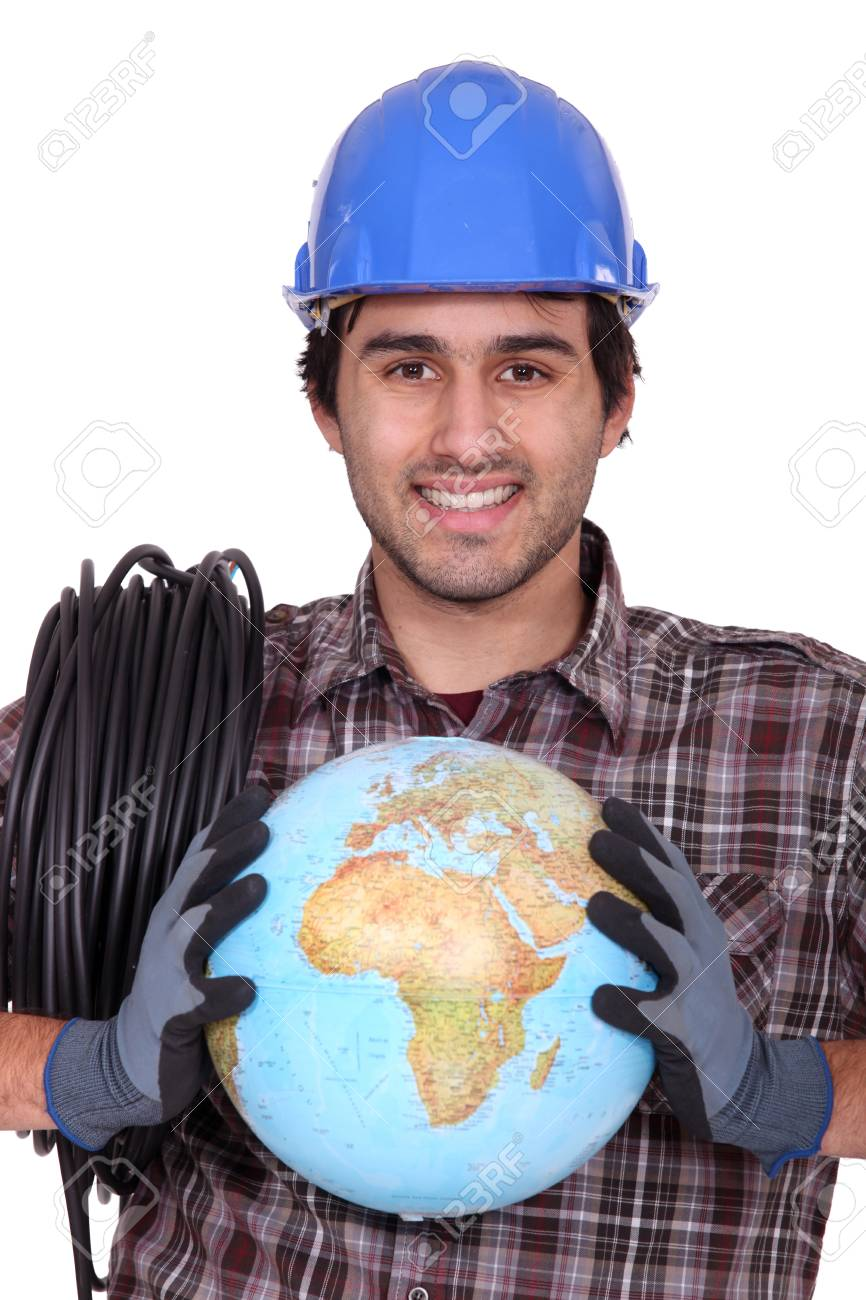Electrician with a globe in his hands Stock Photo - 13868747