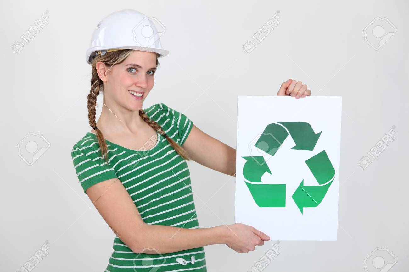 Woman with sign and recycling symbol Stock Photo - 13868210