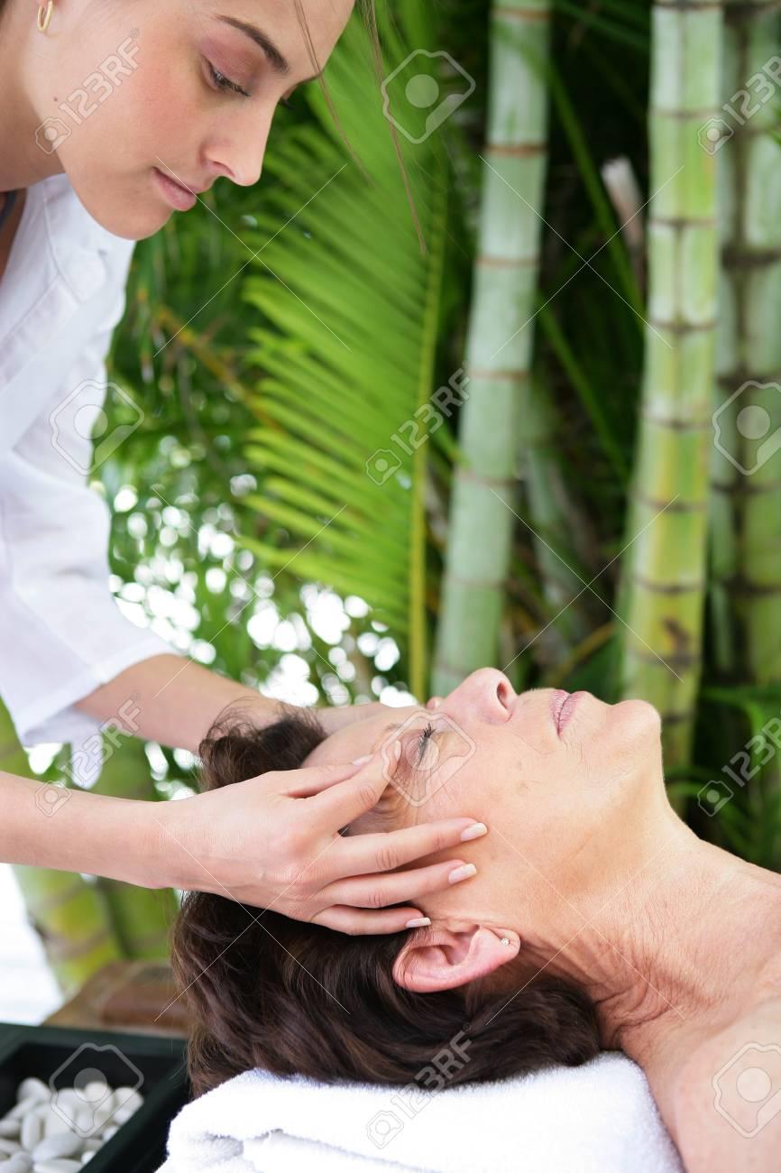 Mature women being massaged