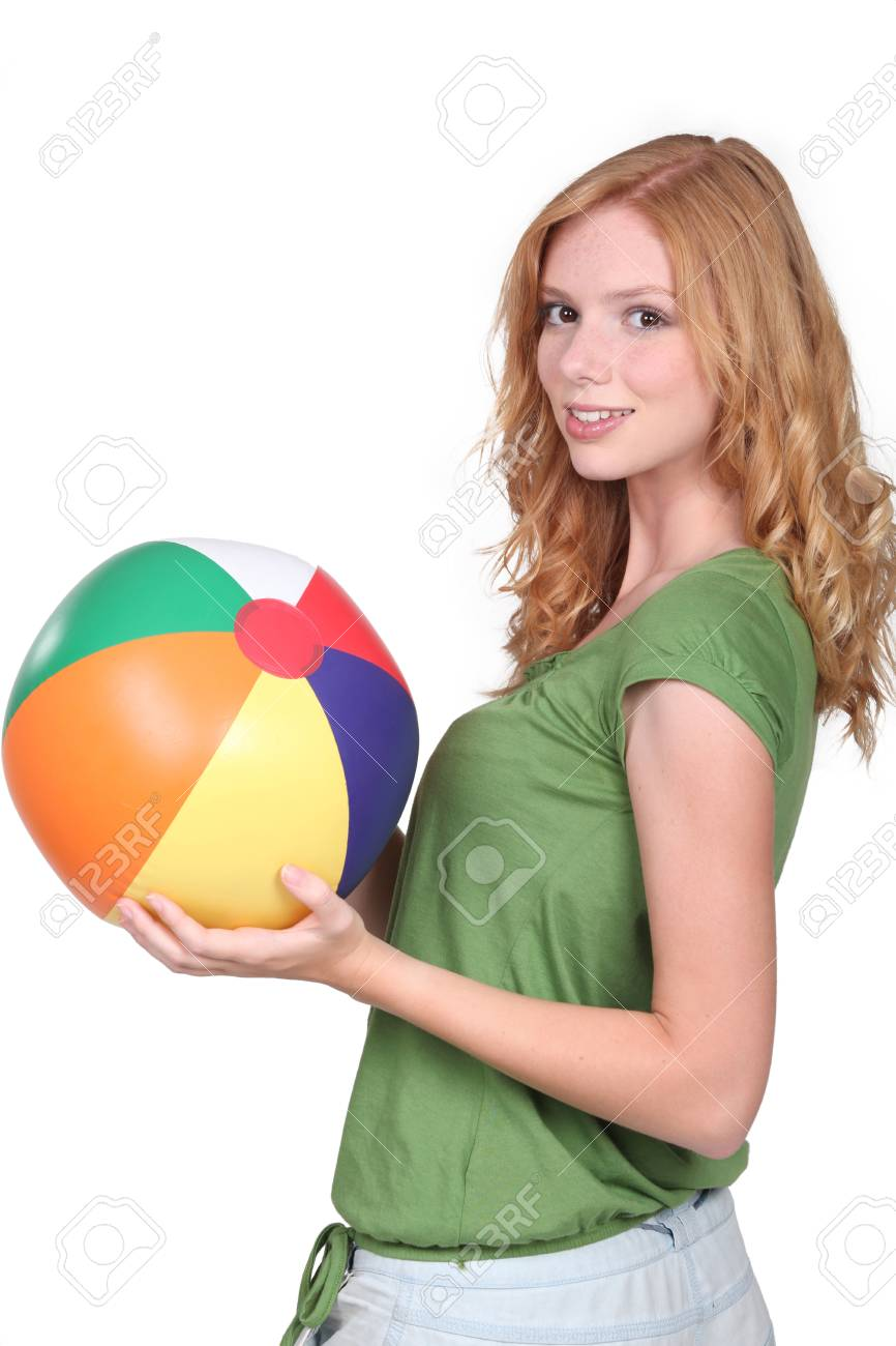 Teenage girl with beach ball Stock Photo - 13883152