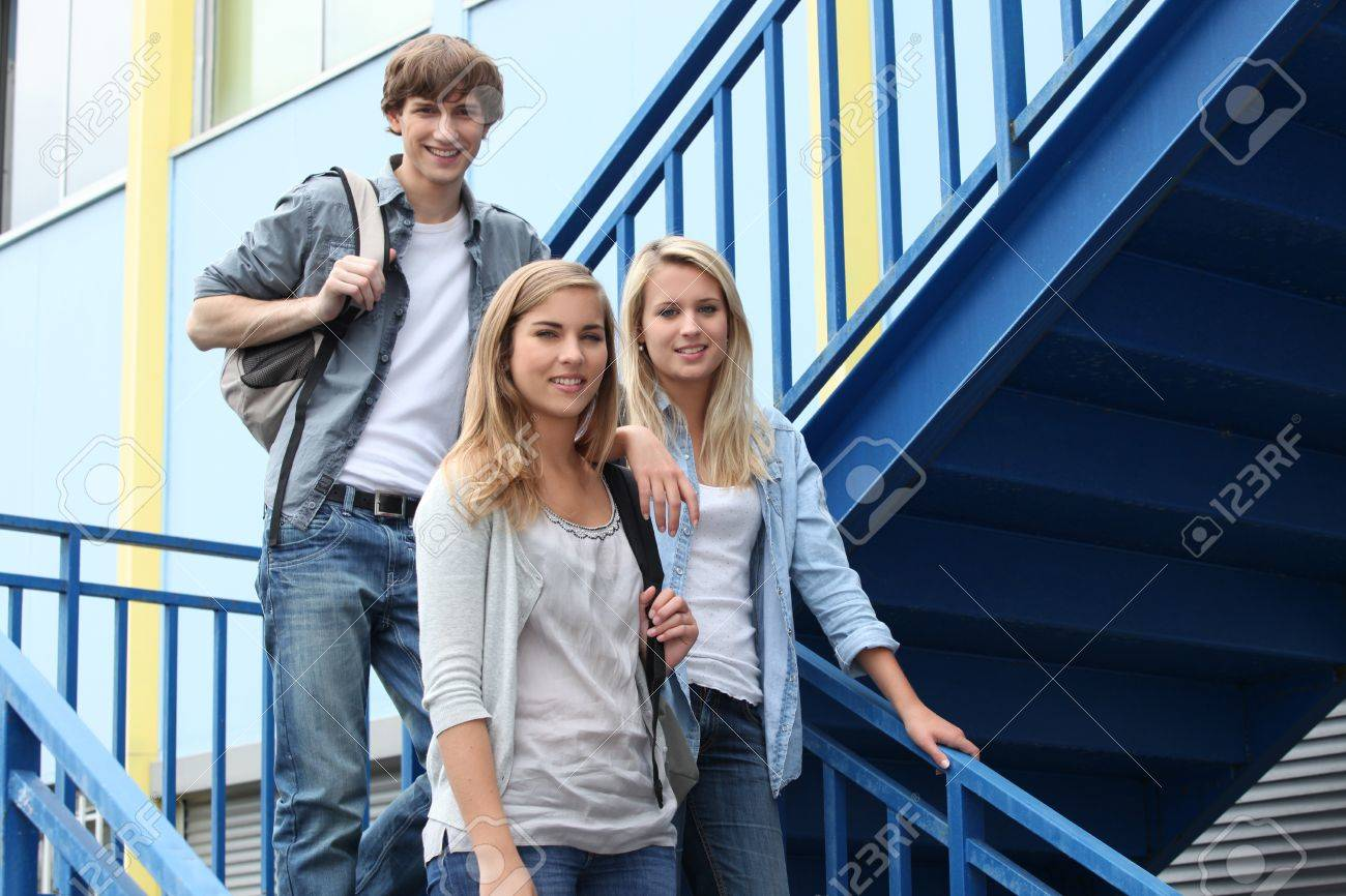 portrait of students in stairs Stock Photo - 13913965