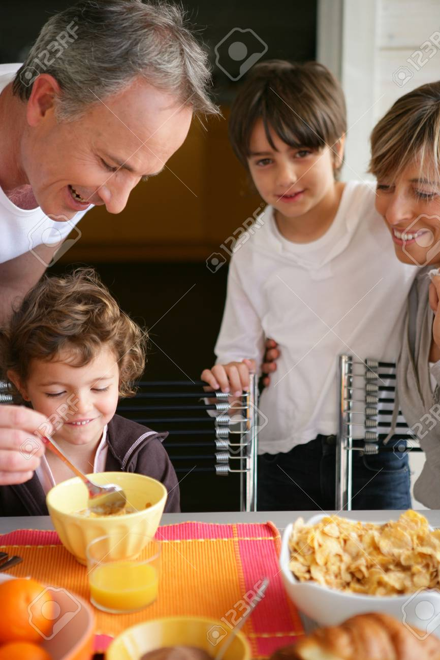 Family having breakfast together Stock Photo - 13948849