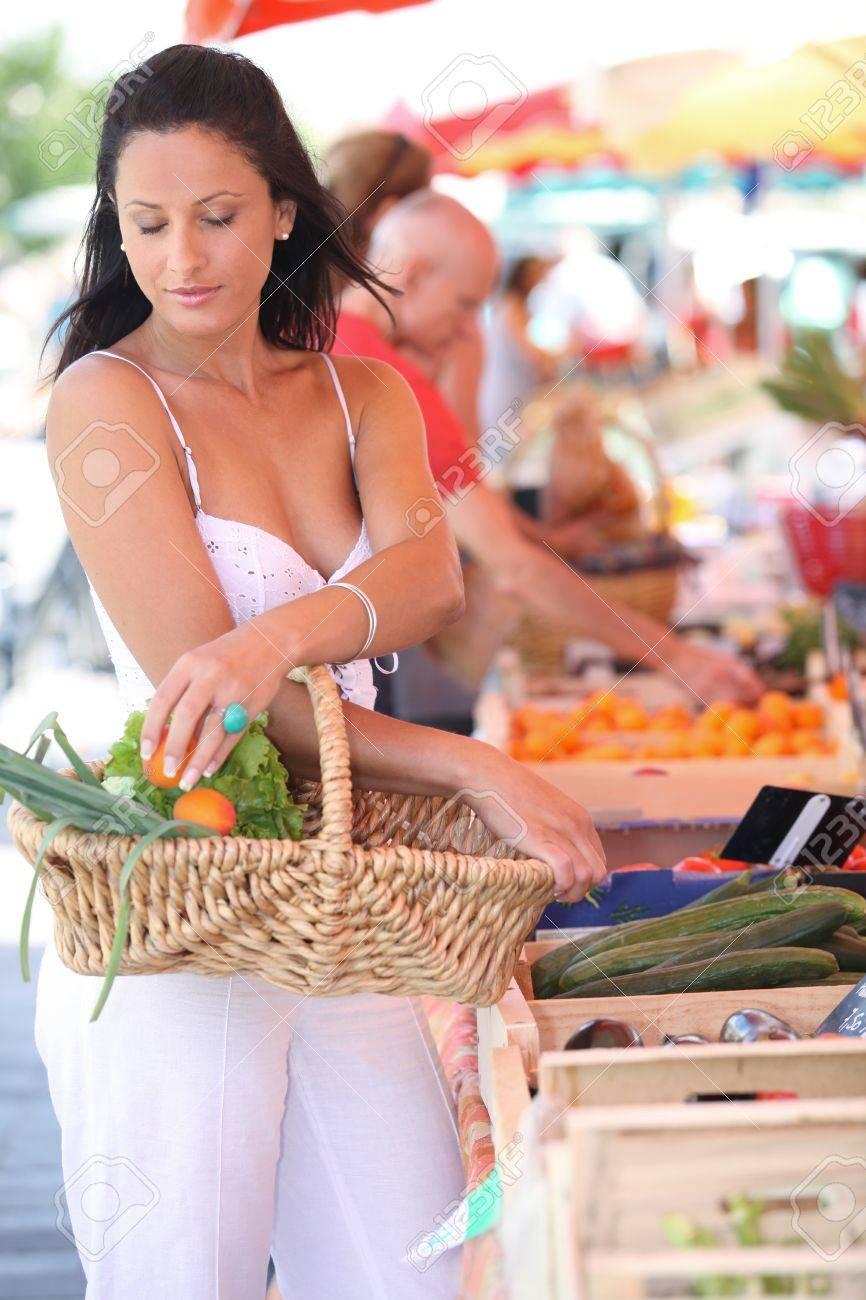 Woman shopping at local market Stock Photo - 13958568