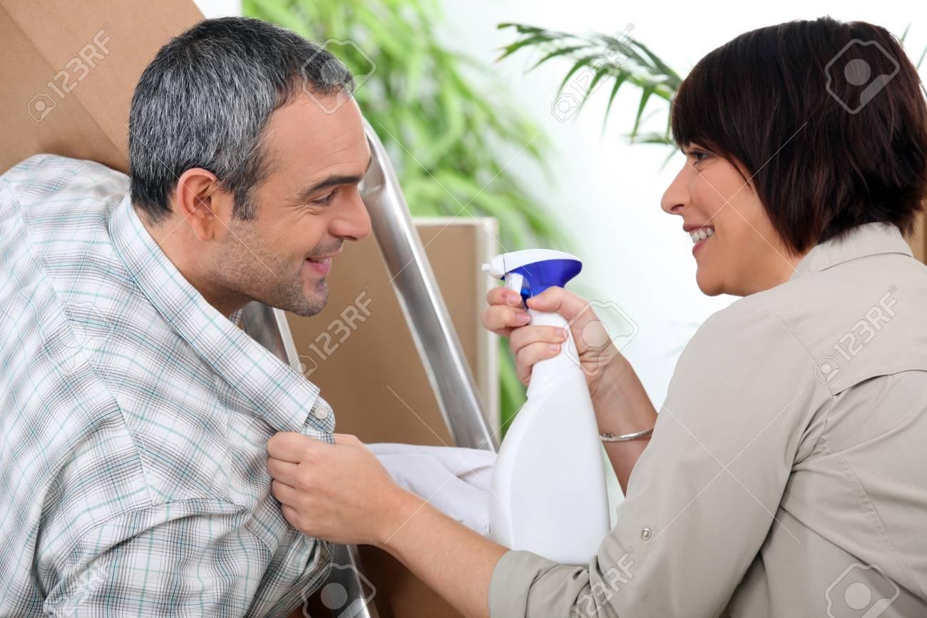 Couple installing furniture Stock Photo - 14028063