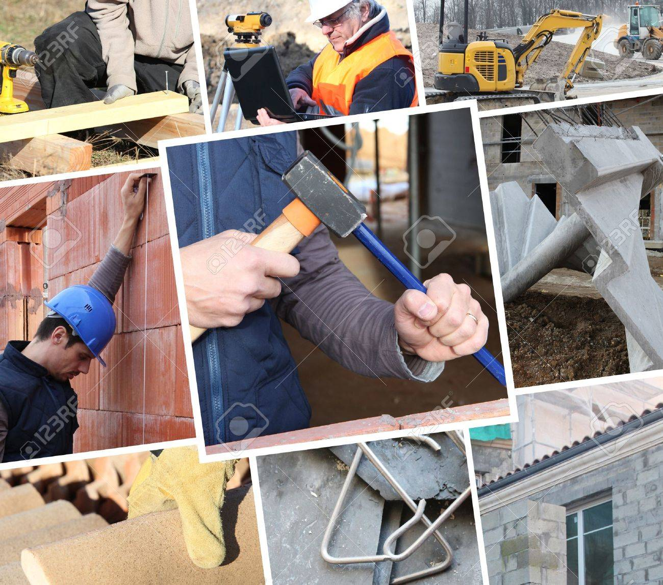 Collage showing construction work Stock Photo - 14023496