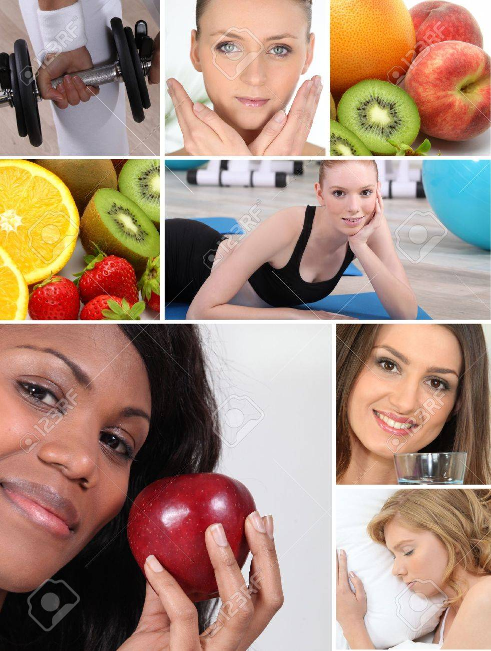 Healthy living themed montage Stock Photo - 14023425
