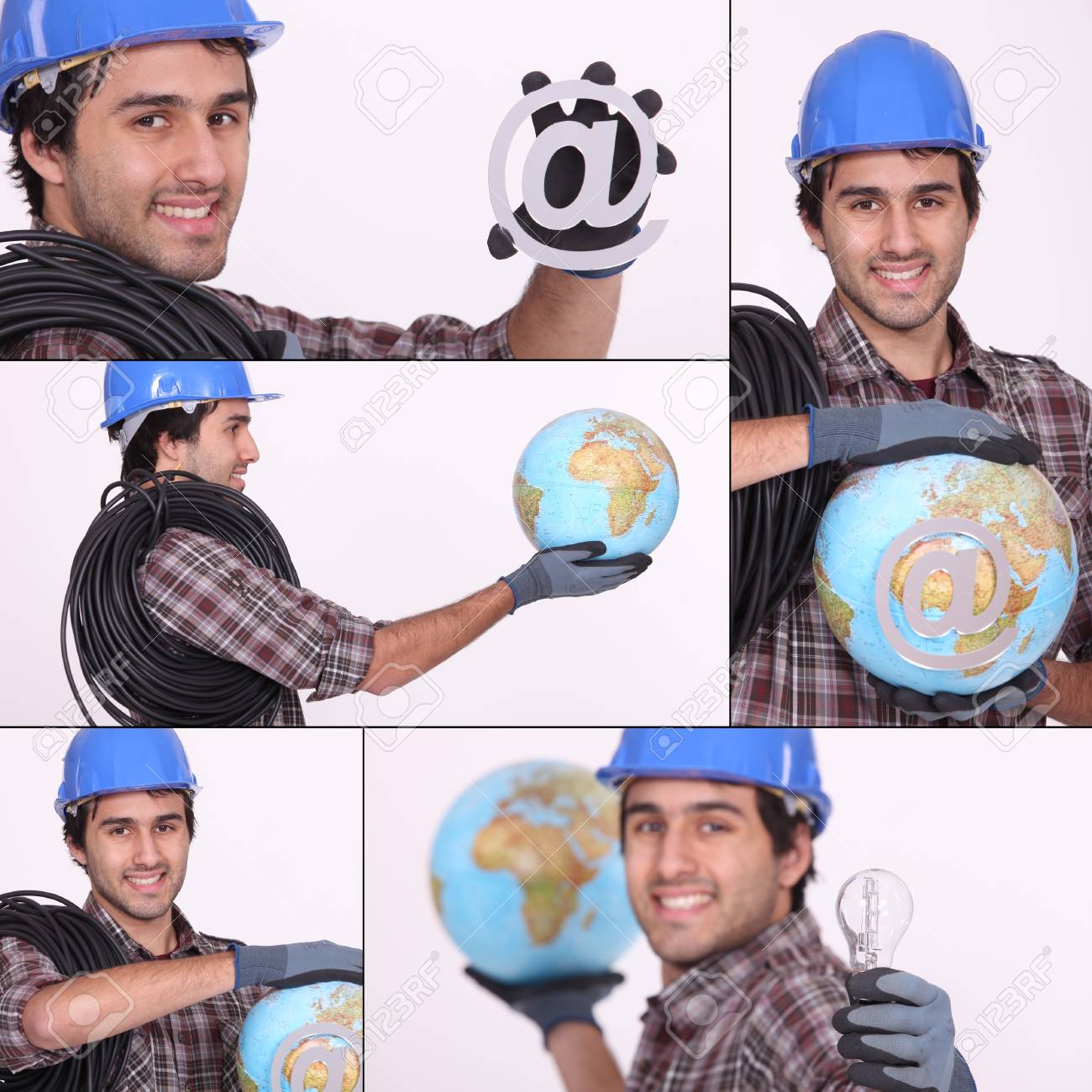 an electrician, a globe and an @ Stock Photo - 14023107