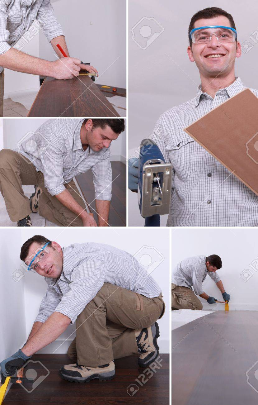 Montage of a man putting down a wooden floor Stock Photo - 14023346