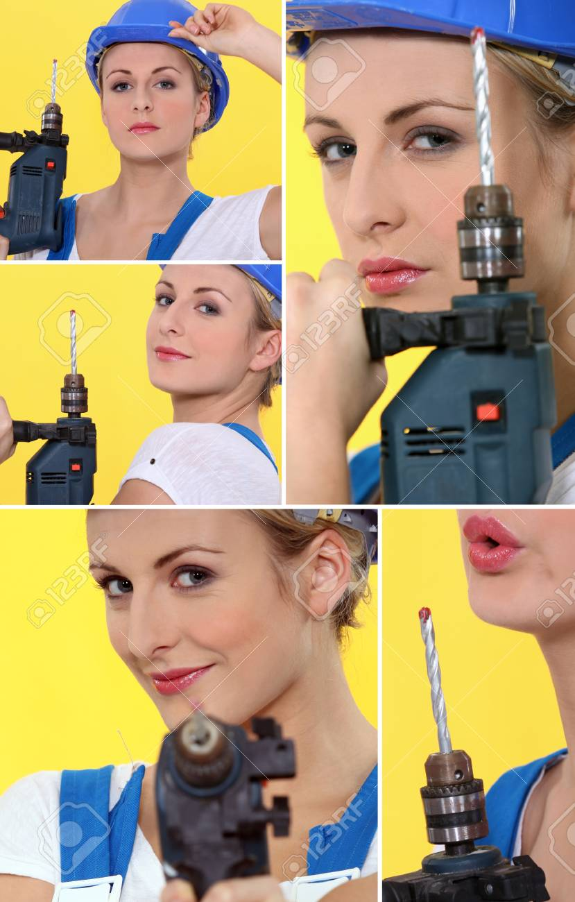 Woman with a drill Stock Photo - 14023255
