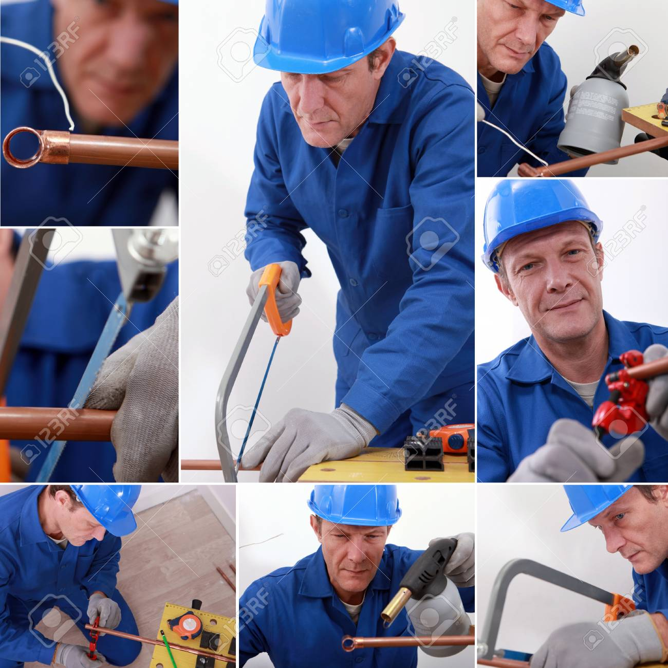 Montage of a plumber at work Stock Photo - 14109553