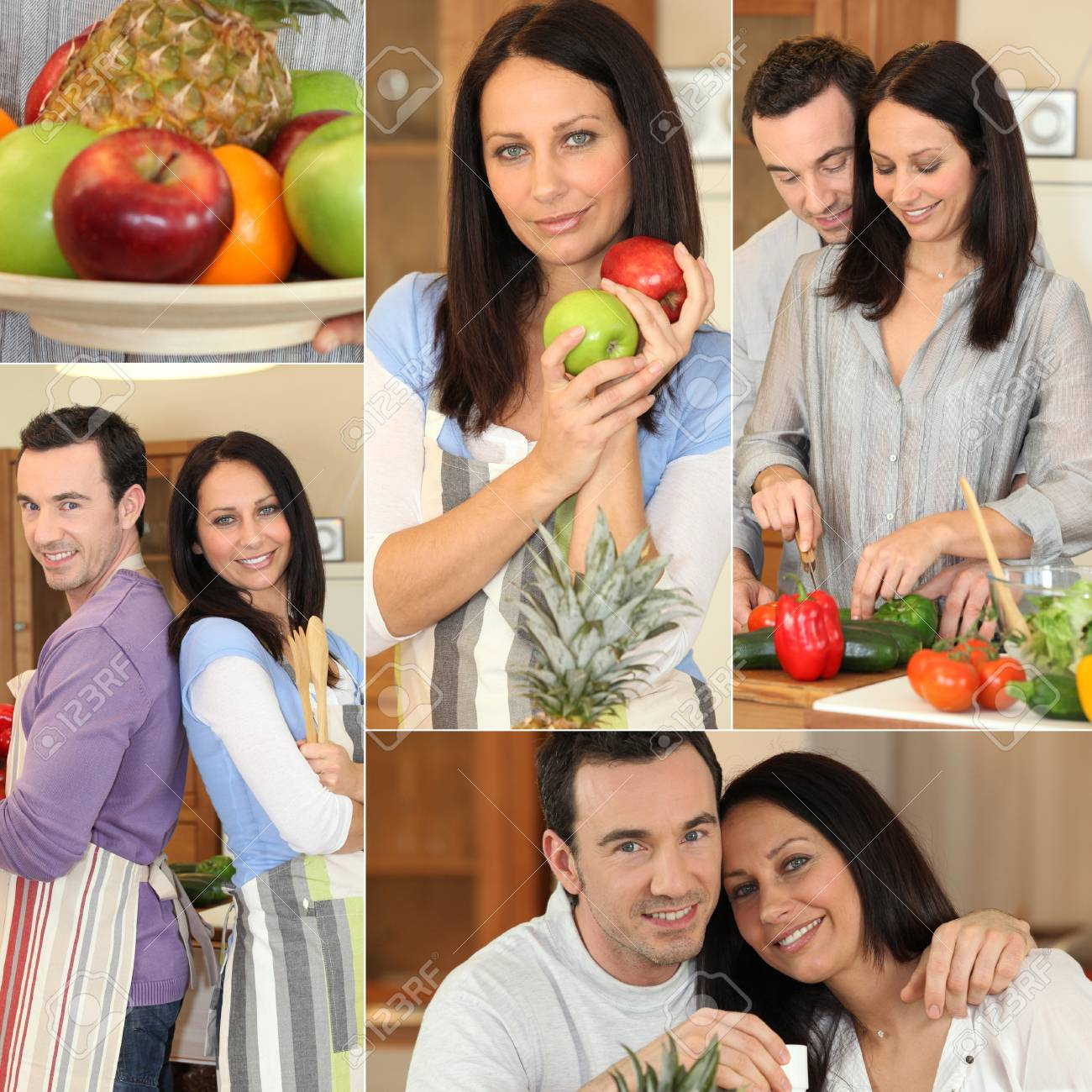 Collage of a couple in their kitchen Stock Photo - 14102145