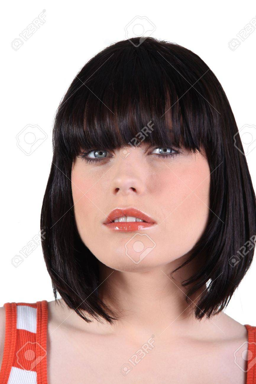 closeup of a woman with a bobbed haircut stock photo, picture and