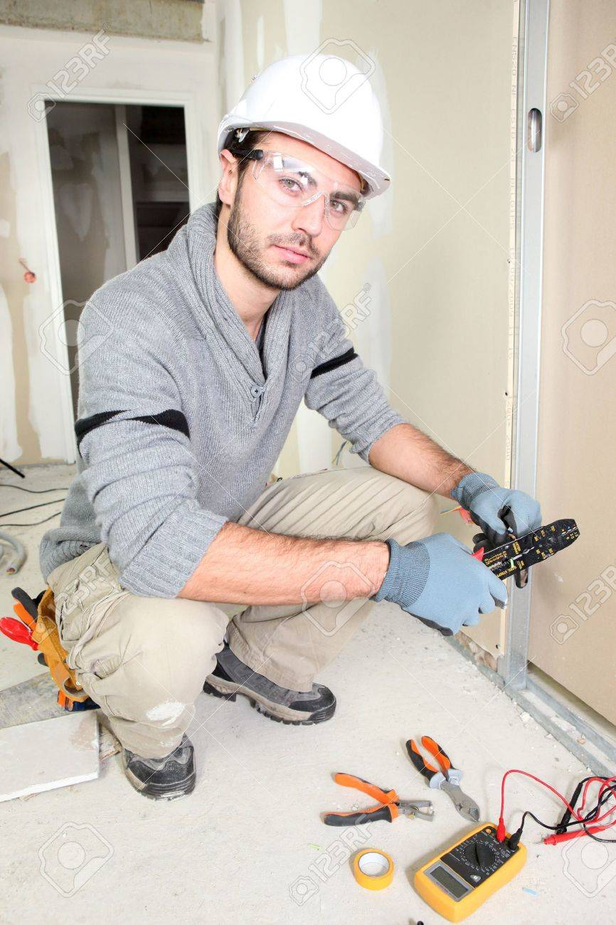 Electrician Wiring Up A Home Stock Photo, Picture And Royalty Free ...