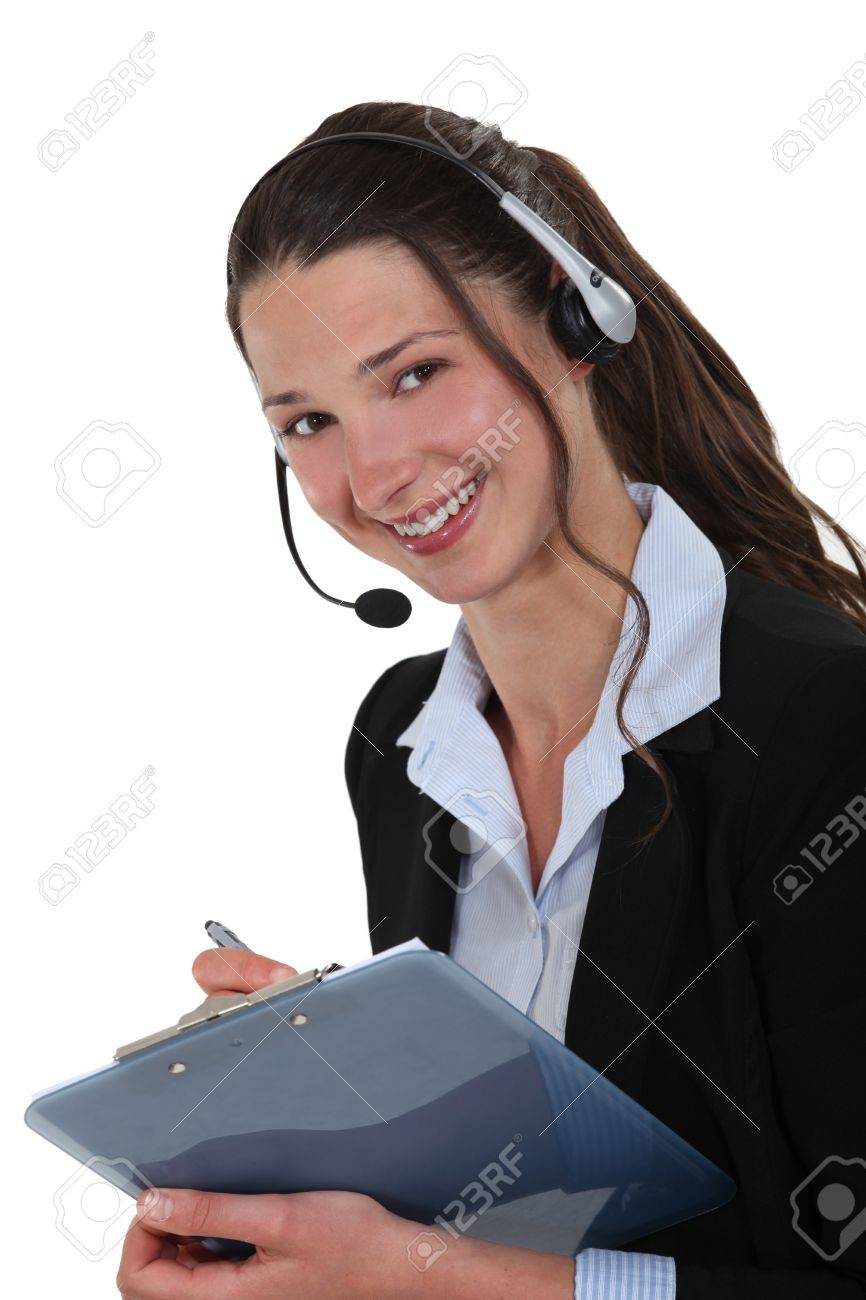 Cheerful Call Center Supervisor With Clip Board Stock Photo   14194660  Call Center Supervisor