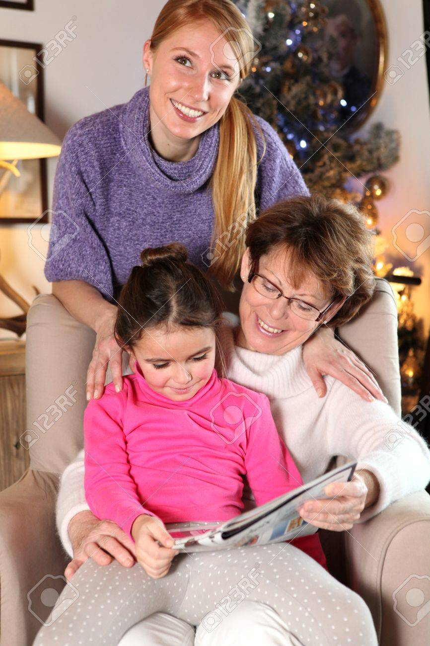 Grandmother, mother and daughter at Christmas Stock Photo - 14195214