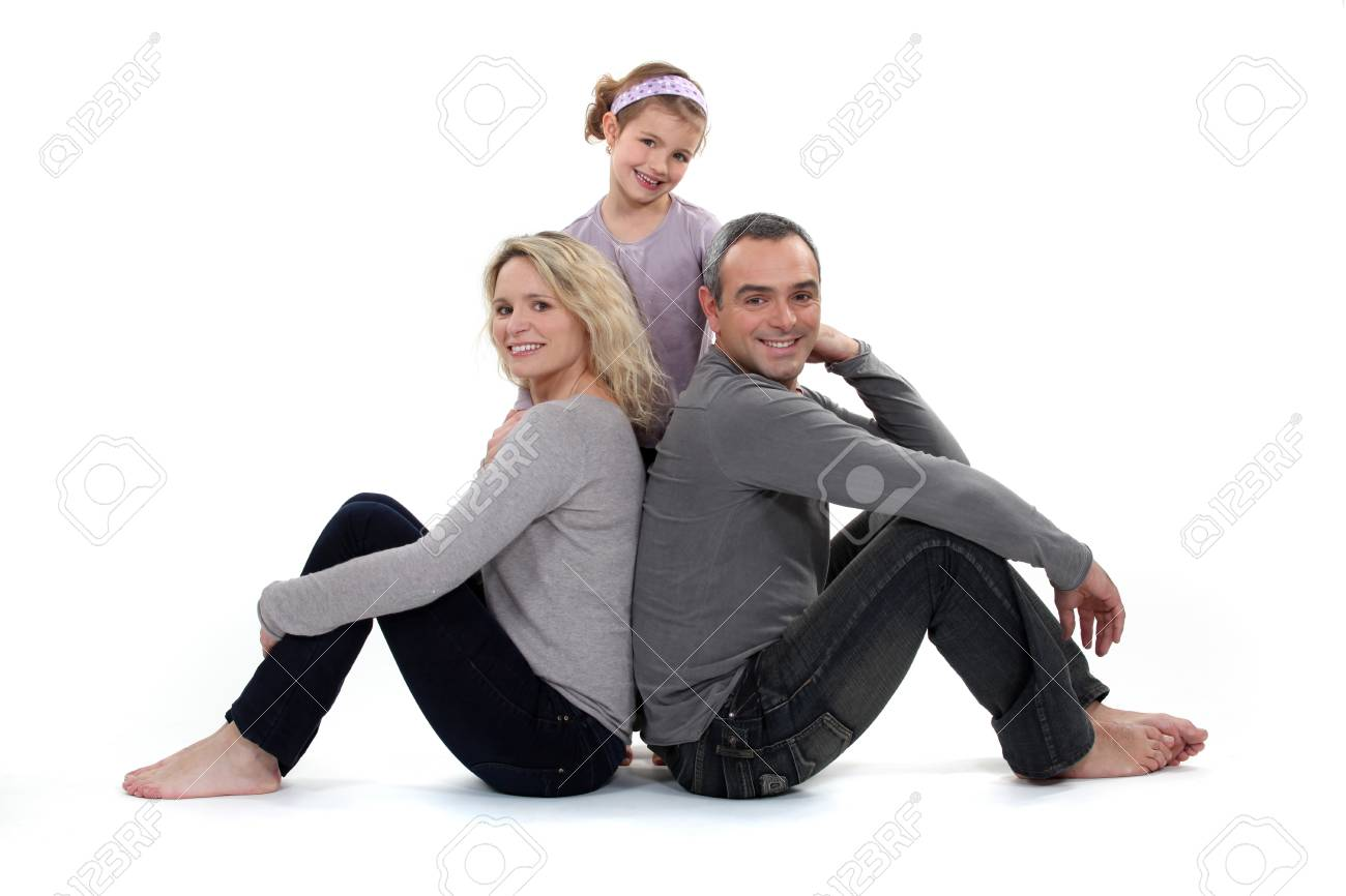 Parents and daughter on white background Stock Photo - 14203645