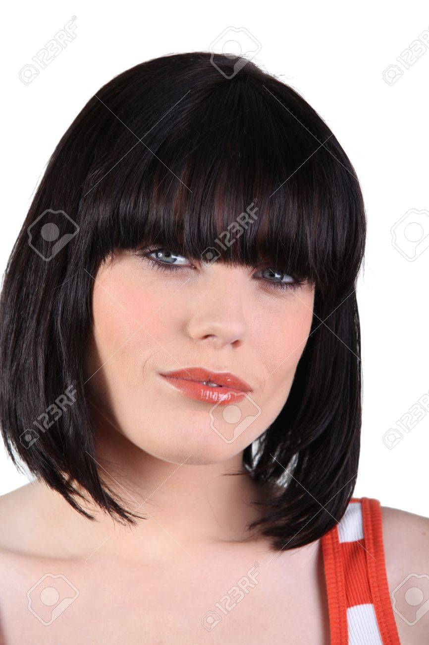 woman with a bobbed haircut stock photo, picture and royalty free