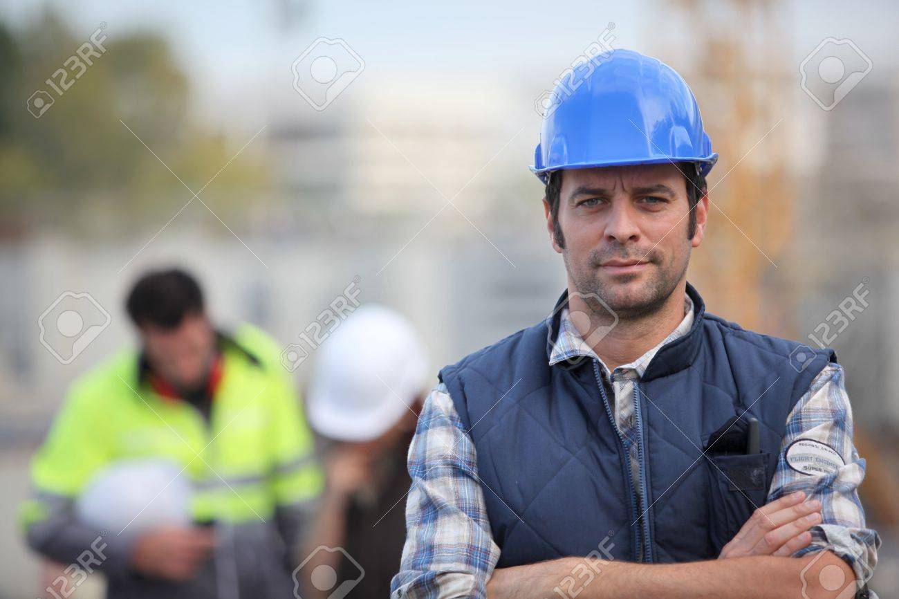 Confident foreman on construction site Stock Photo - 14212345
