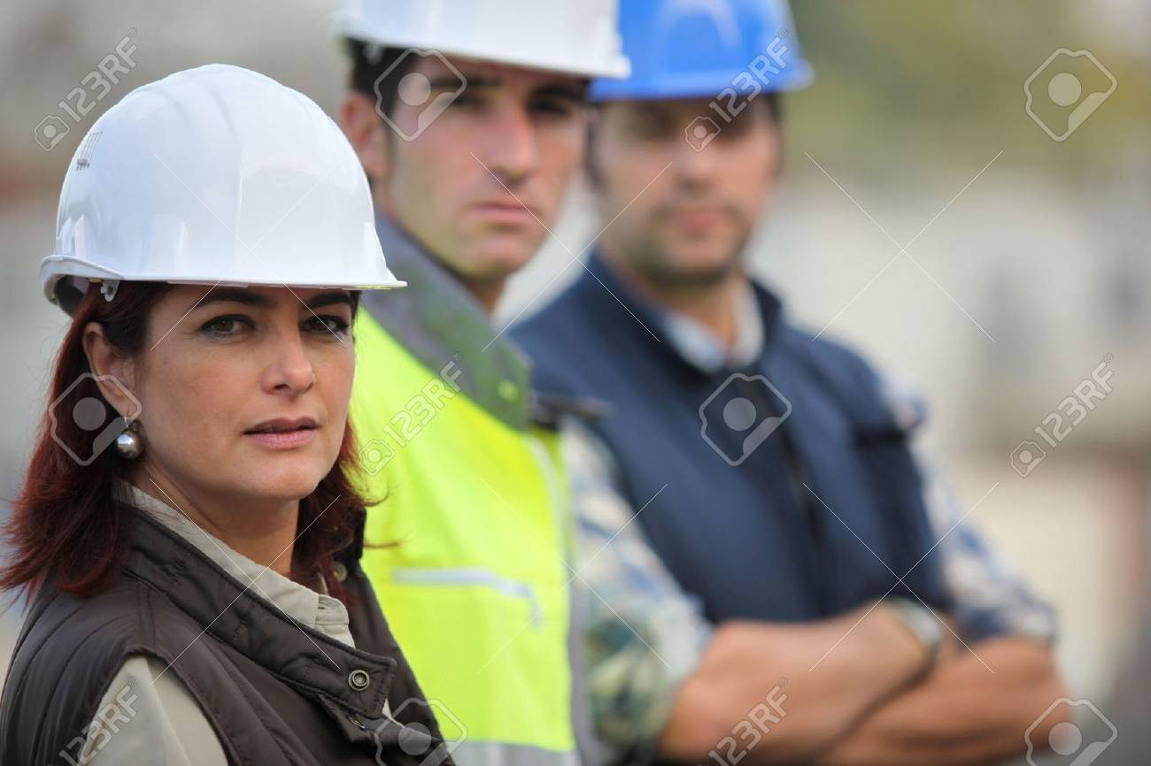 Three construction colleagues Stock Photo - 14212289