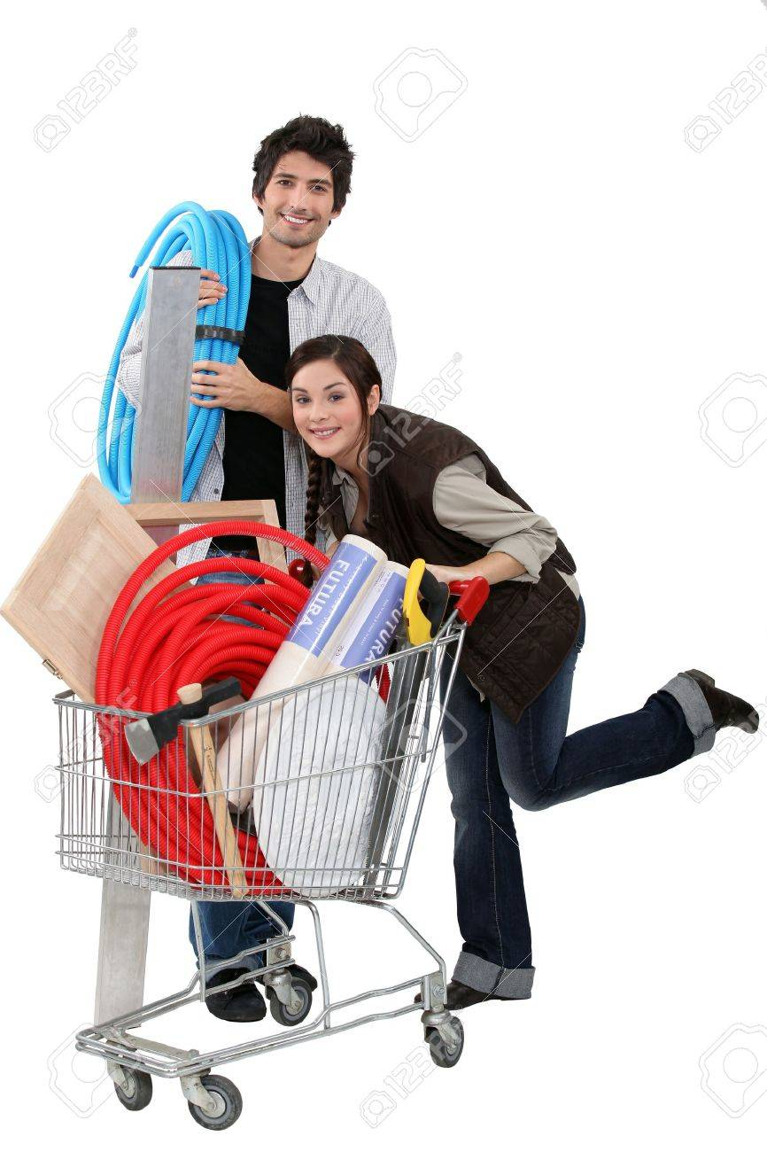 Couple at a diy store Stock Photo - 15496711