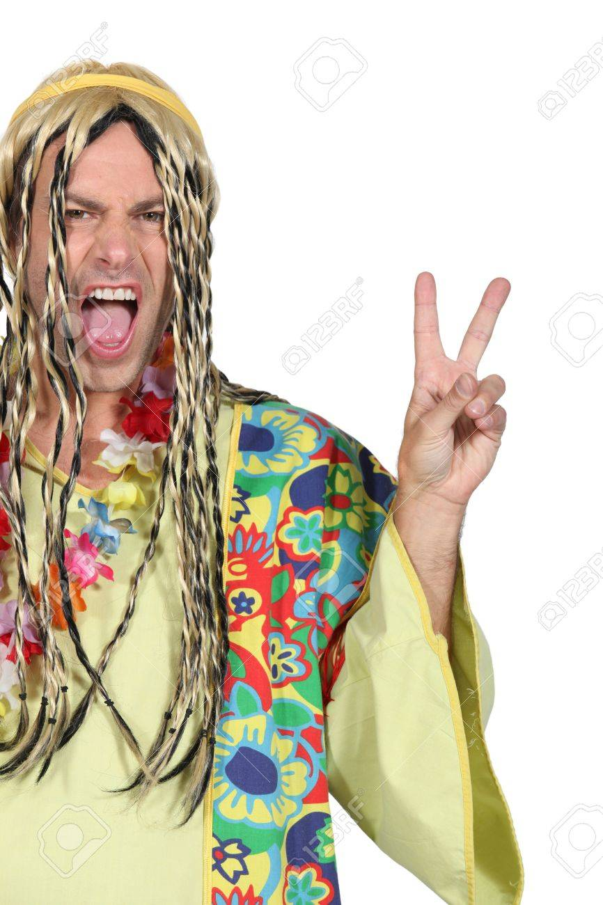Enthusiastic man in a hippy costume Stock Photo - 15234255  sc 1 st  123RF.com & Enthusiastic Man In A Hippy Costume Stock Photo Picture And Royalty ...