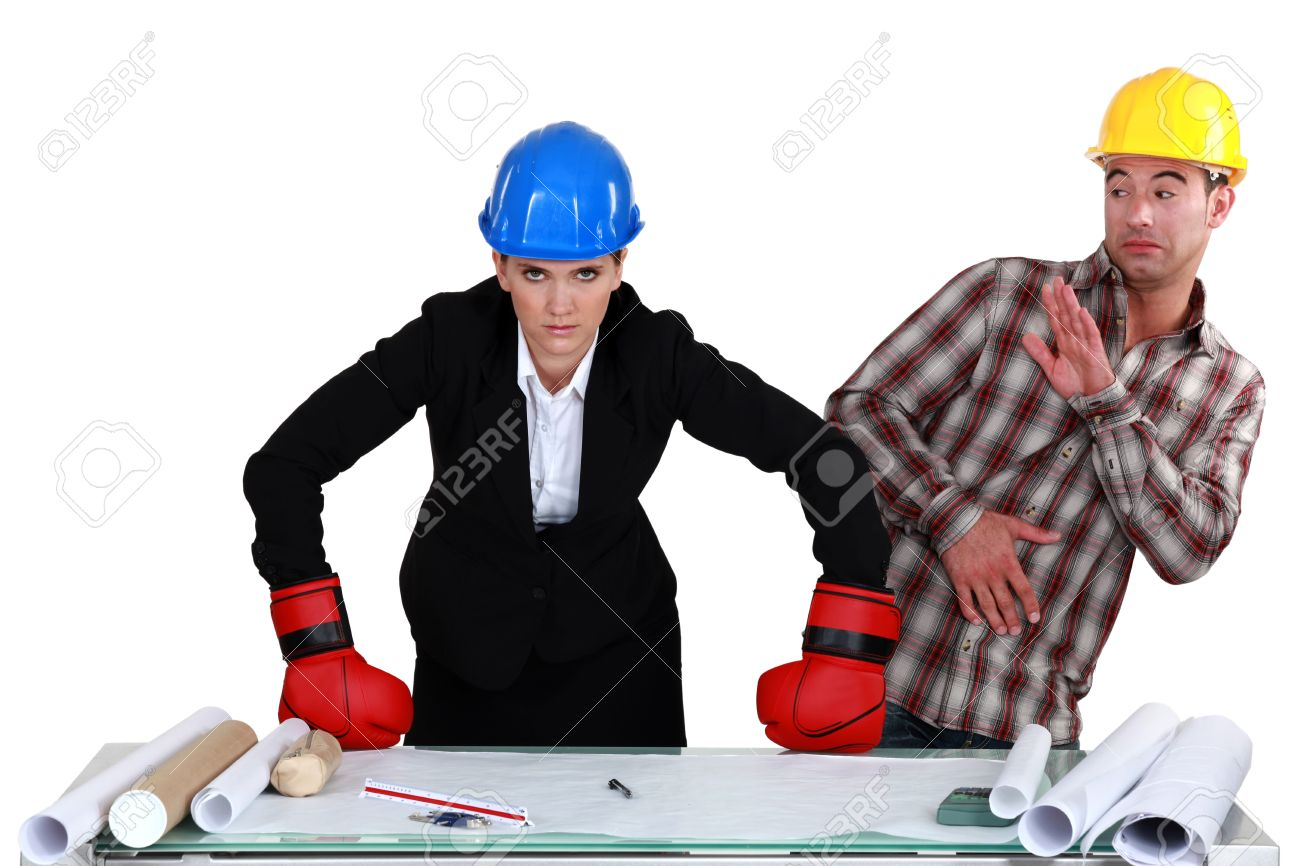 Lovely Fight Between Architect And Builder Stock Photo   15263125