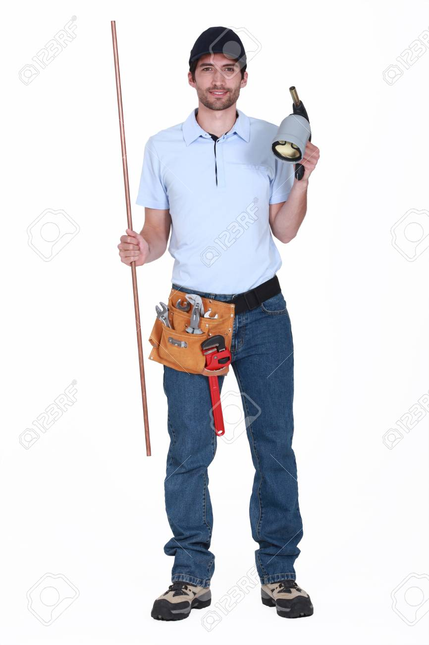 Plumber with a blowtorch Stock Photo - 15263550