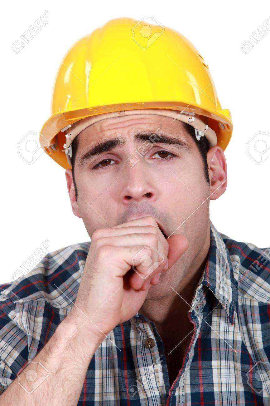 Construction worker yawning Stock Photo - 15290077