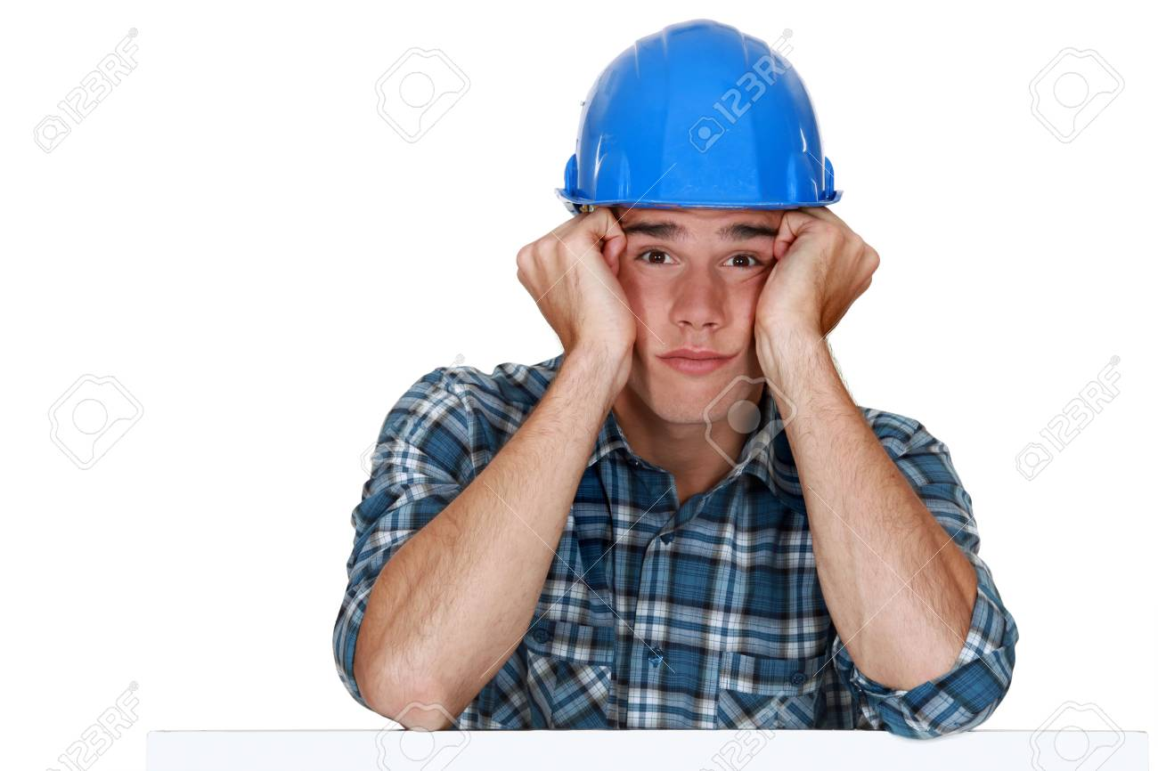 Bored construction worker Stock Photo - 15289930
