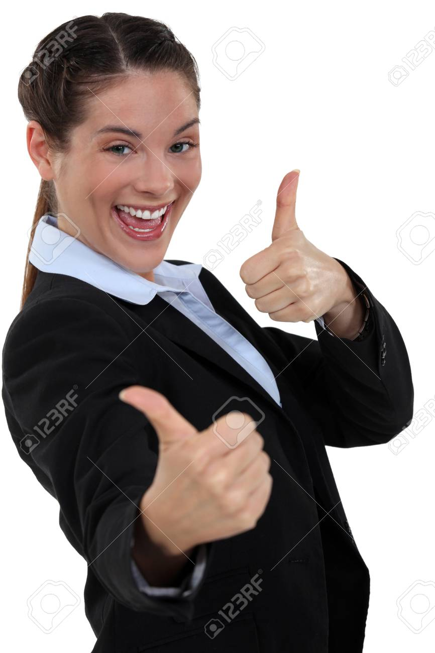 Businesswoman giving two thumb Stock Photo - 15391568