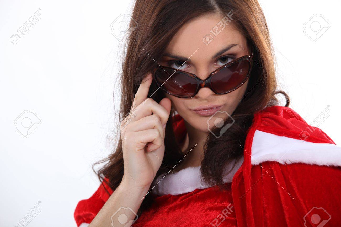 sexy mother Christmas with sunglasses Stock Photo - 15573959