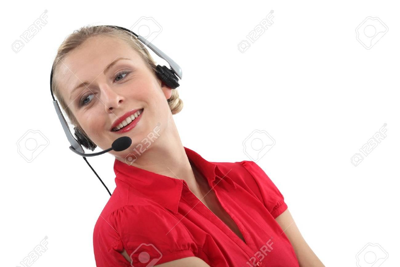 Woman wearing a headset Stock Photo - 15669000