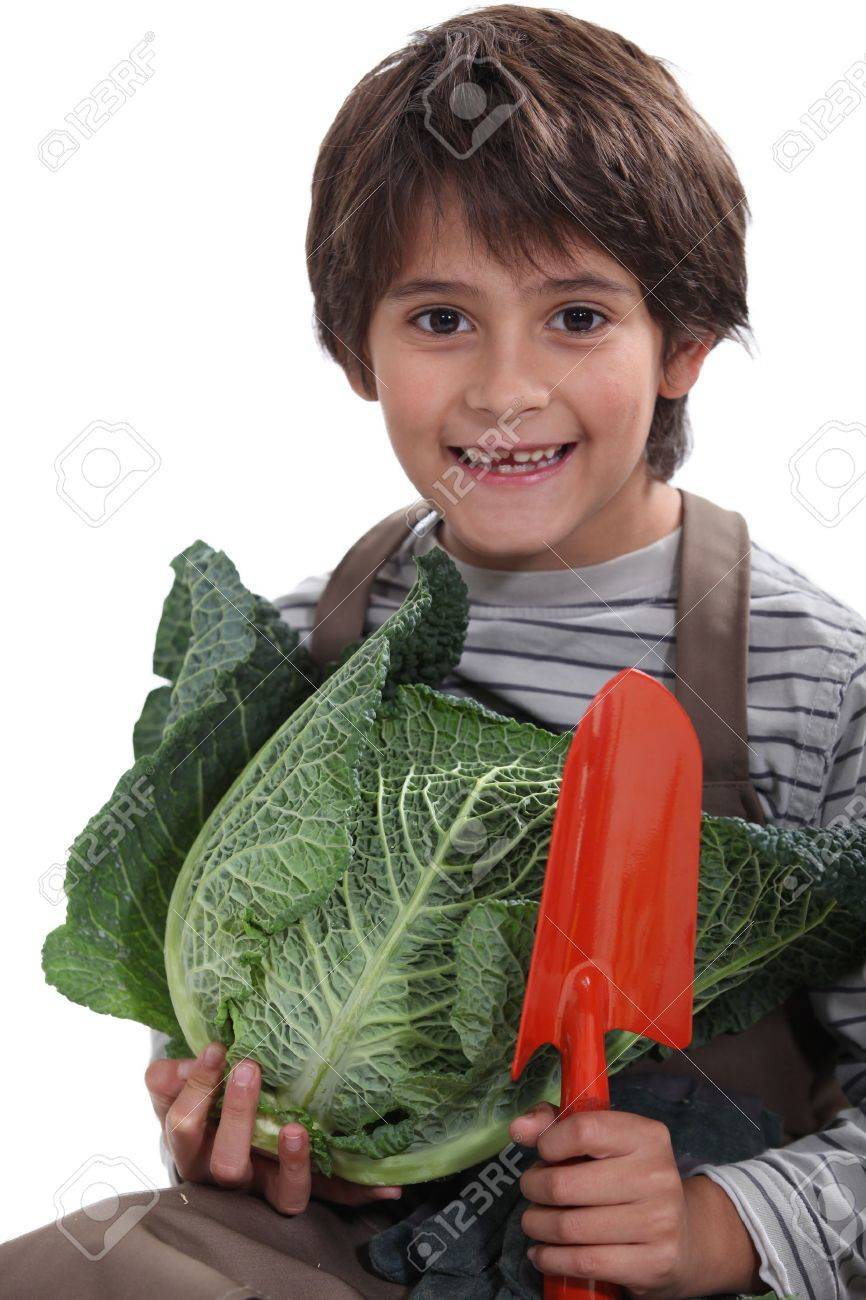 cheeky lad carrying, vegetables, Stock Photo - 15675500