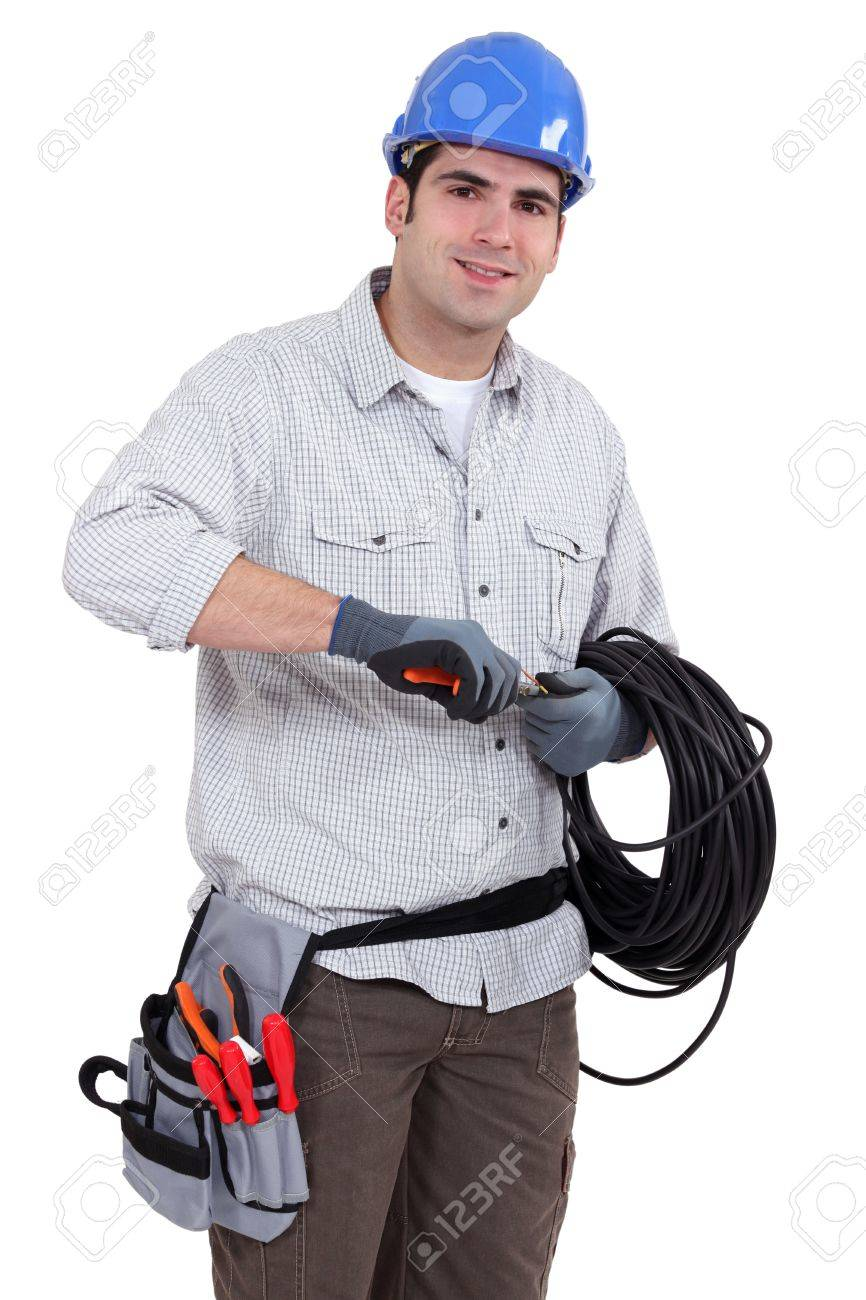 Electrician Preparing Cable Stock Photo, Picture And Royalty Free ...