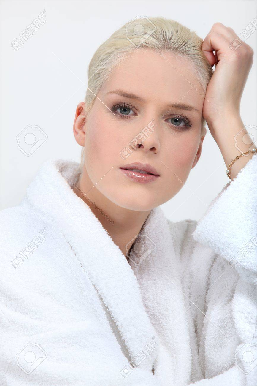 Stunning blonde woman in full make up and a toweling robe Stock Photo - 15718436