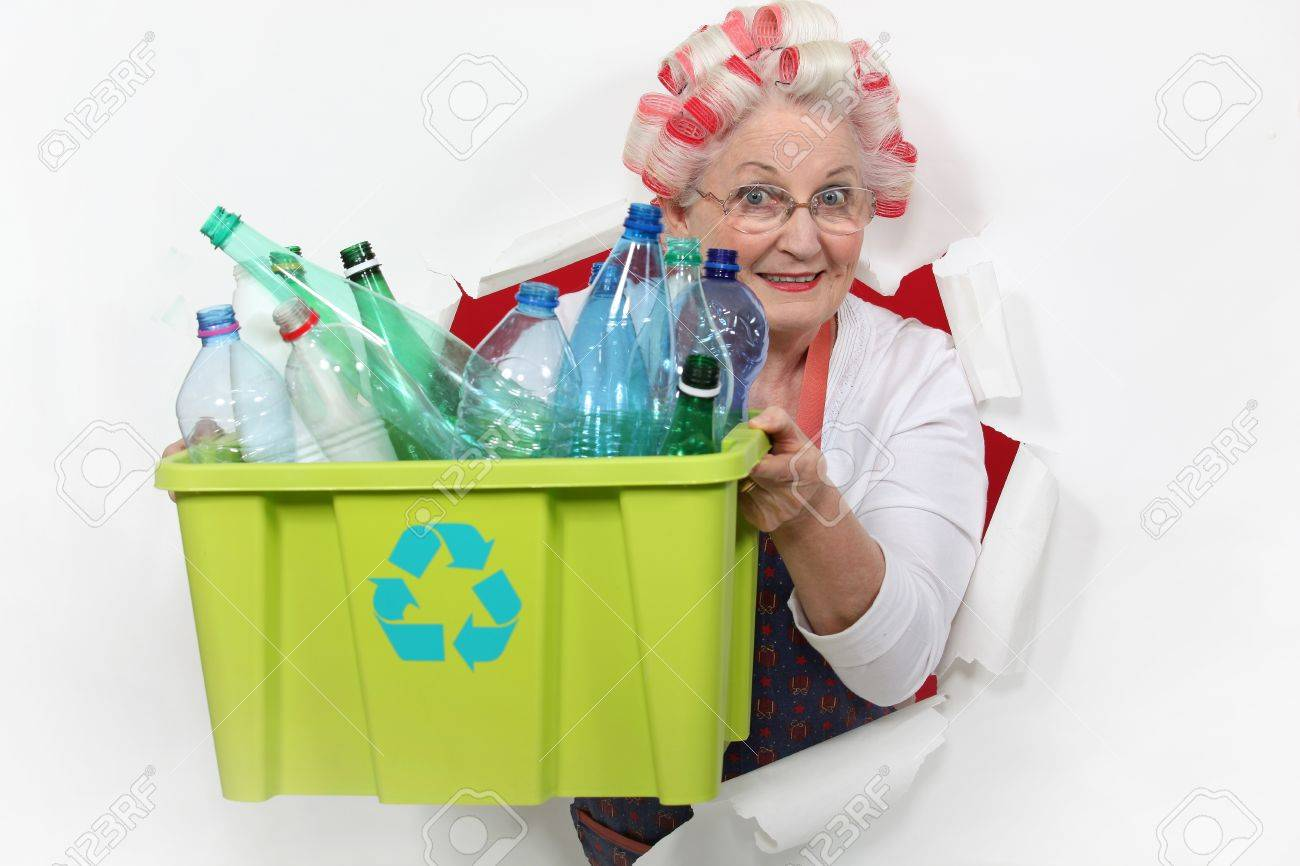 Recycling Plastic Bottles Old Lady Recycling Plastic Bottles Stock Photo Picture And